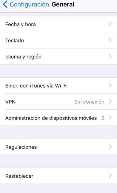 Clic en Administración de dispositivos móviles