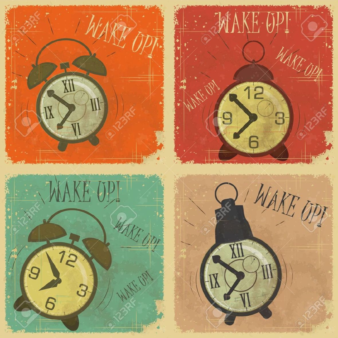 13601195-set-of-vintage-labels-retro-cards-with-grunge-effect-retro-alarm-clock-with-text-wake-up-stock-vector